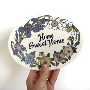 Vintage Floral Ceramic Home Sweet Home Sign
